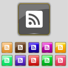 RSS feed icon sign. Set with eleven colored buttons for your sit