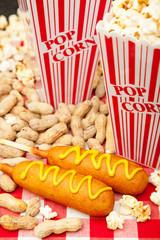 Corn Dogs Popcorn and Peanuts