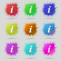 Information, Info icon sign. A set of nine original needle butto