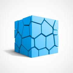 Cracked vector blue cube