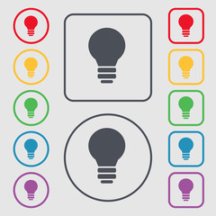 Light lamp, Idea icon sign. symbol on the Round and square butto