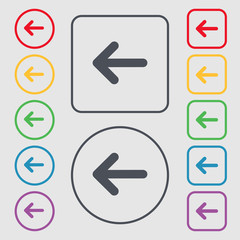Arrow left, Way out icon sign. symbol on the Round and square bu