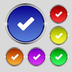 Check mark, tik icon sign. Round symbol on bright colourful butt