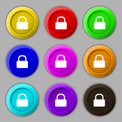 Pad Lock icon sign. symbol on nine round colourful buttons. Vect
