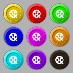 Film icon sign. symbol on nine round colourful buttons. Vector