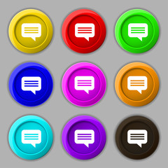 speech bubble, Chat think icon sign. symbol on nine round colour