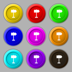 Signpost icon sign. symbol on nine round colourful buttons. Vect