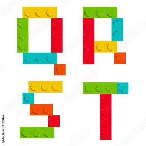 Alphabet set made of toy construction brick blocks isolated iso - 81322806