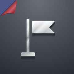 flag icon symbol. 3D style. Trendy, modern design with space for