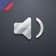 Speaker volume, Sound icon symbol. 3D style. Trendy, modern desi