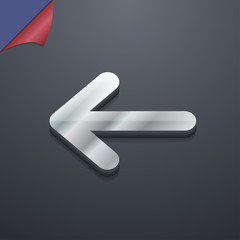 Arrow left, Way out icon symbol. 3D style. Trendy, modern design