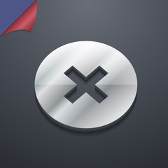 cancel icon symbol. 3D style. Trendy, modern design with space f