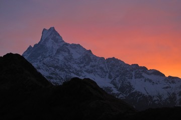 Famous Fish-Tail Mountain Machapuchre at sunrise