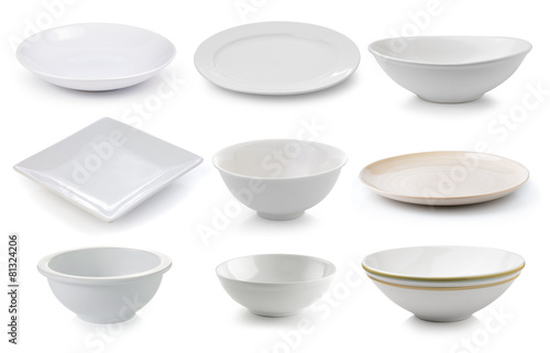 ceramics plate and bowl isolated on white background