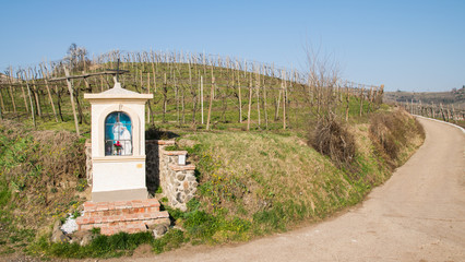 Italian traditional votive temple in the countryside dedicated t