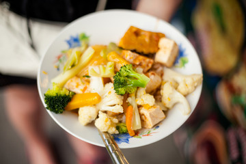 Thai fried tofu with vegetables