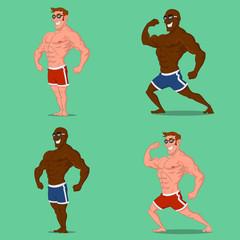 Set of bodybuilders