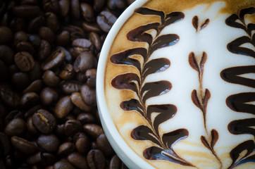 Closeup of a beautiful cup of  latte art