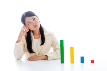 asian businesswoman with building block
