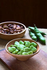 Raw broad beans (lat. Vicia faba) in bowl