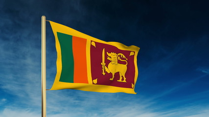 Sri Lanka flag slider style. Waving in the wind with cloud
