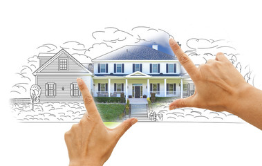 Hands Framing House Drawing and Photo on White