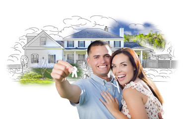 Military Couple with Keys Over House Drawing and Photo