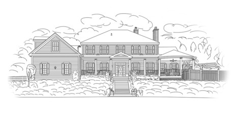 Custom Black House Facade Drawing on White