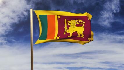 Sri Lanka flag with cloud waving in the wind. Green screen
