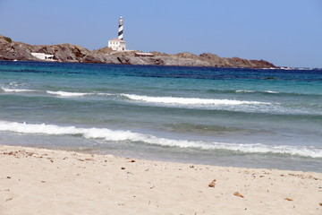 Presili cove near the Far de Favaritx, lighthouse in Minorca, Ba