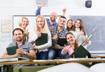 Portrait of adult students at class