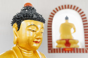 Closeup view of Golden Buddha statue in the pagoda of the Ten Th