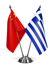 China and Greece - Miniature Flags.