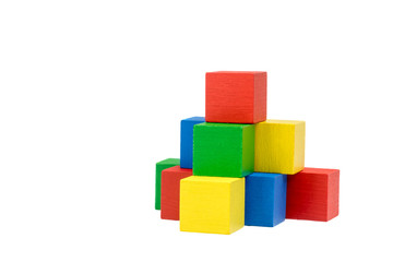 Pyramid from wooden colorful cubes