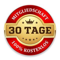 Goldener 30 Tage kostenlos Siegel mit rotem Rand