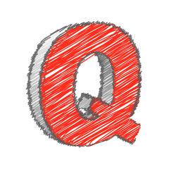 Scribble Q Alphabet Vector