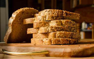 Fresh whole wheat bread on a wooden