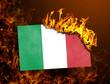 Leinwanddruck Bild - Flag burning - Italy