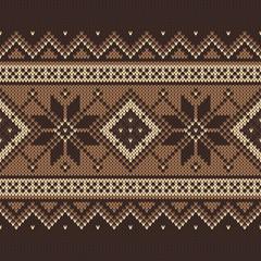 Traditional Fair Isle Pattern. Seamless Knitting Ornament