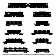 Set vector silhouettes of  locomotives with different wagons.