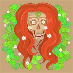 Skull hippie smiling