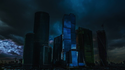 The empty skyscrapers at night: apocalyptic-style video