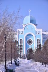Synagoge in Astana, Kazakhstan, in winter