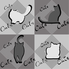 Four silhouettes of cats in different poses