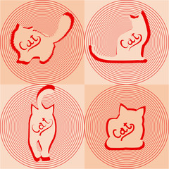 Beige cats silhouettes in different poses