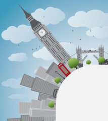 London panorama with big ben and skyscrapers