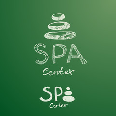 Hand drawn logo of spa center made from white stones