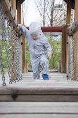 three-year boy playing