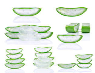 Set of aloe vera isolated on white background