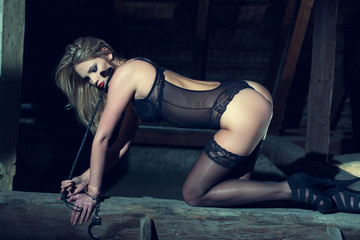Sexy woman kneeling on the timber in barn
